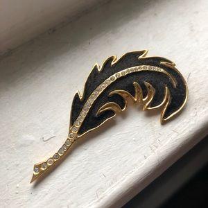 Vintage Gold Black Feather Rhinestone Brooch